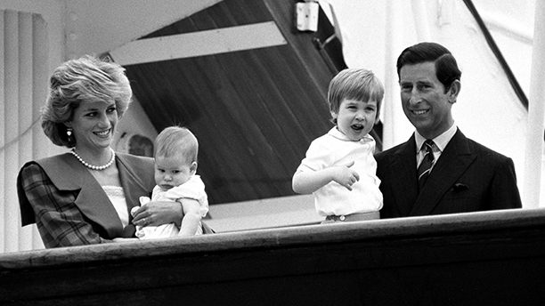 Prince of Wales 60th Birthday.File photo dated 7/5/1985 of the Prince and Princess of Wales are reunited with their children, Prince William and Prince Harry, aboard the royal yacht Britannia for a private holiday. Issue date: Sunday November 9, 2008. The Prince of Wales will celebrate his 60th Birthday next week. See PA Story ROYAL Birthday. Photo credit should read: PA Wire URN:6534819 (Press Association via AP Images)