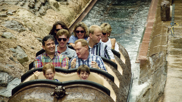 Prince Harry, front row left, and family friend Harry Soames, right, ride of Splash Mountain at Walt Disney World in Lake Buena Vista, Florida on Thursday, August 26, 1993. Riding at back right is Princess Diana. Diana, Harry and Prince William are spending a few private days at the Magic Kingdom. (AP Photo/Peter Cosgrove)