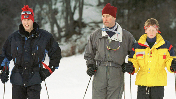 Britain's Prince Charles, center, with his sons Harry, right, and William, left, during the official photo session during their ski holidays in Klosters, Switzerland, on Friday, January 2, 1998. (AP Photo/Keystone/Arno Balzarini)