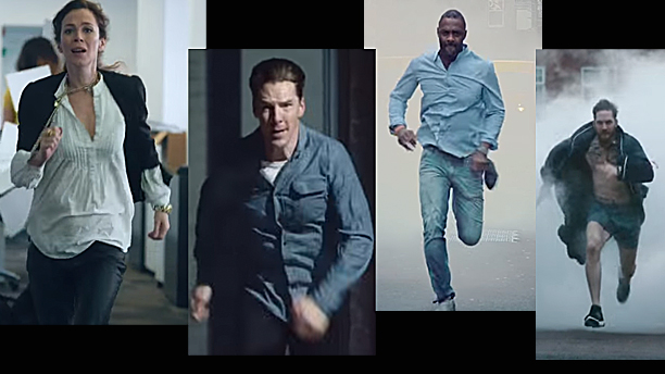 Anna Friel, Benedict Cumberbatch, Idris Elba and Tom Hardy in the 'Stand Up to Cancer campaign clip (Pics: Channel 4)