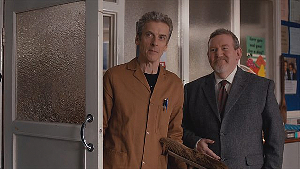 "The Doctor takes on a bit of extra work as ""The Caretaker"" (Pic: BBC)"