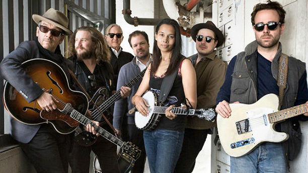 The cast of 'Lost On The River', including Elvis Costello (far left) and Marcus Mumford (second from right)
