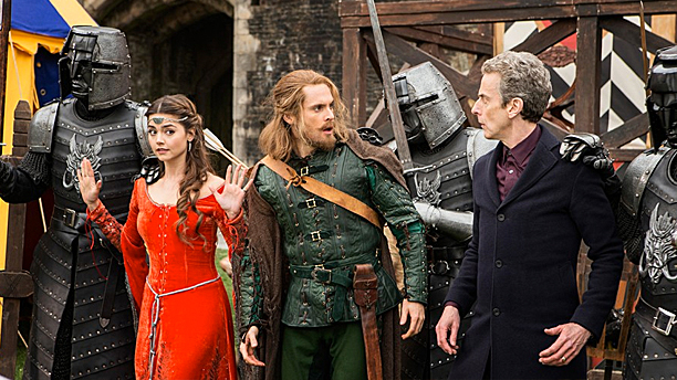 "Clara, Robin and the Doctor in ""robot of Sherwood"" (Pic: BBC)"