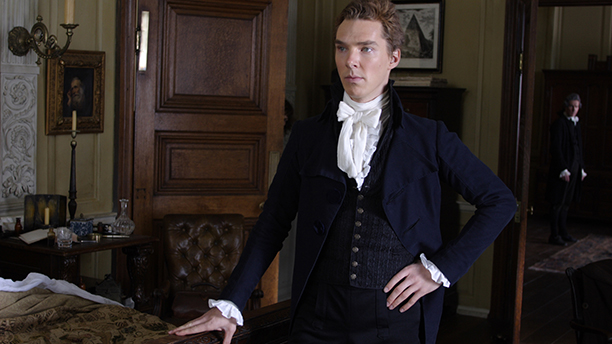 Benedict Cumberbatch couples a cravat with ruffles in Amazing Grace. Daring. (XX)