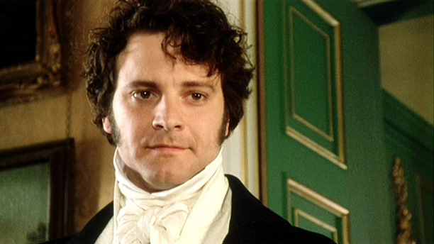 Colin Firth is all tied up as Mr. Darcy in Pride and Prejudice. This is before the iconic pond scene. (BBC)
