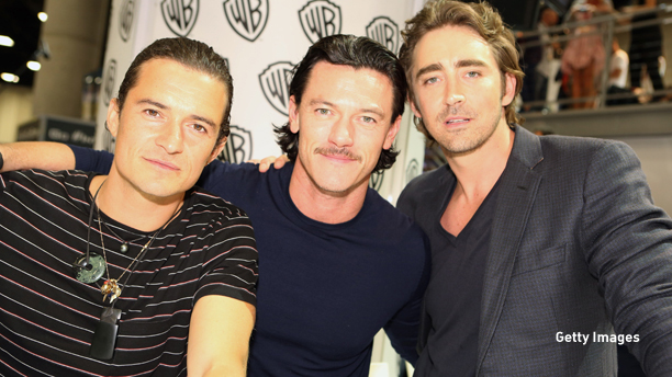 """SAN DIEGO, CA - JULY 26:  In this handout photo provided by Warner Bros, Orlando Bloom, Luke Evans, and Lee Pace of """"The Hobbit: The Battle of the Five Armies"""" attend Comic-Con International 2014  on July 26, 2014  in San Diego, California. Photo by Chris Frawley/Waner Bros. Entertainment Inc. via Getty Images)"""
