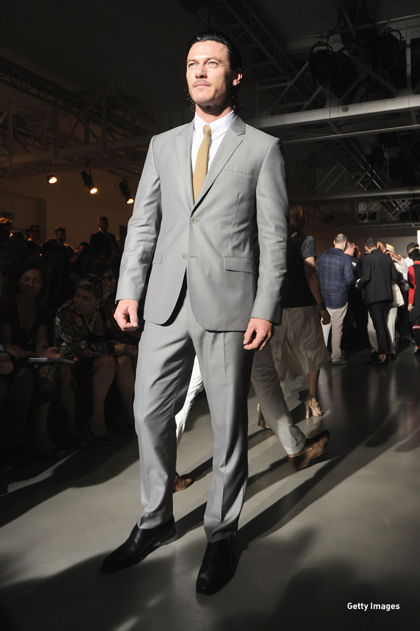 MILAN, ITALY - JUNE 22:  Luke Evans attends the Calvin Klein show during Milan Menswear Fashion Week Spring Summer 2015 on June 22, 2014 in Milan, Italy.  (Photo by Pier Marco Tacca/Getty Images)