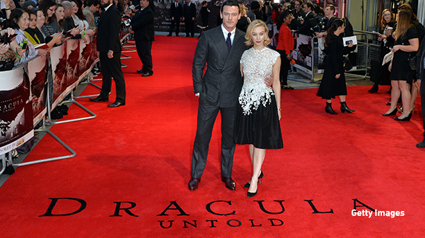 """LONDON, ENGLAND - OCTOBER 01:  Luke Evan and Sarah Gadon attend the UK Premiere of """"Dracula Untold"""" at Odeon West End on October 1, 2014 in London, England.  (Photo by Anthony Harvey/Getty Images)"""
