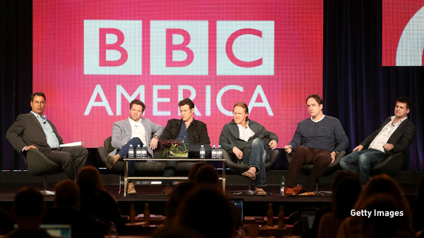 """PASADENA, CA - JANUARY 05: (L-R) Senior Vice President, Programming BBC America, Richard De Croce, creator Richard Warlow, actors Adam Rothenberg, Jerome Flynn, Matthew Macfadyen, and Executive producer Will Gould speak onstage at the """"Ripper Street"""" panel discussion during the BBC America portion of the 2013 Winter TCA Tour- Day 2 at Langham Hotel on January 5, 2013 in Pasadena, California.  (Photo by Frederick M. Brown/Getty Images)"""