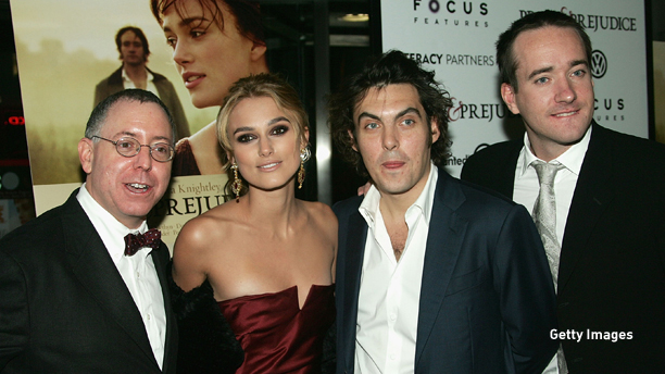"""NEW YORK - NOVEMBER 10:   Focus Features Co-President James Schamus, actress Keira Knightley, director Joe Wright and actor Matthew Macfadyen attend the premiere of """"Pride & Prejudice"""" at Loews Lincoln Square November 10, 2005 in New York City.  (Photo by Evan Agostini/Getty Images)"""