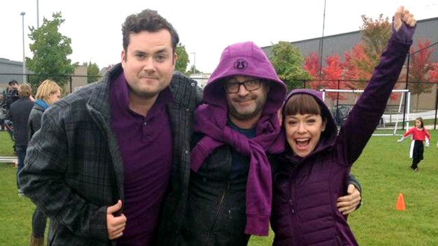 """The Hendrixes & @GraemeManson1 gettin our purple on to support #lgbtqyouth on #SpiritDay!"" - Tatiana Maslany via Twitter"