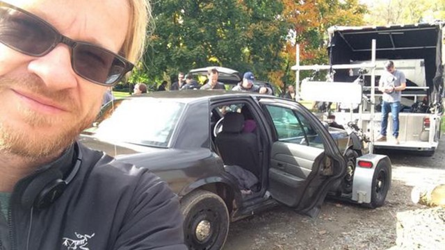 """On location Day 7. The crew prepares to do traveling shots with Art's car."" - John Fawcett via Twitter"