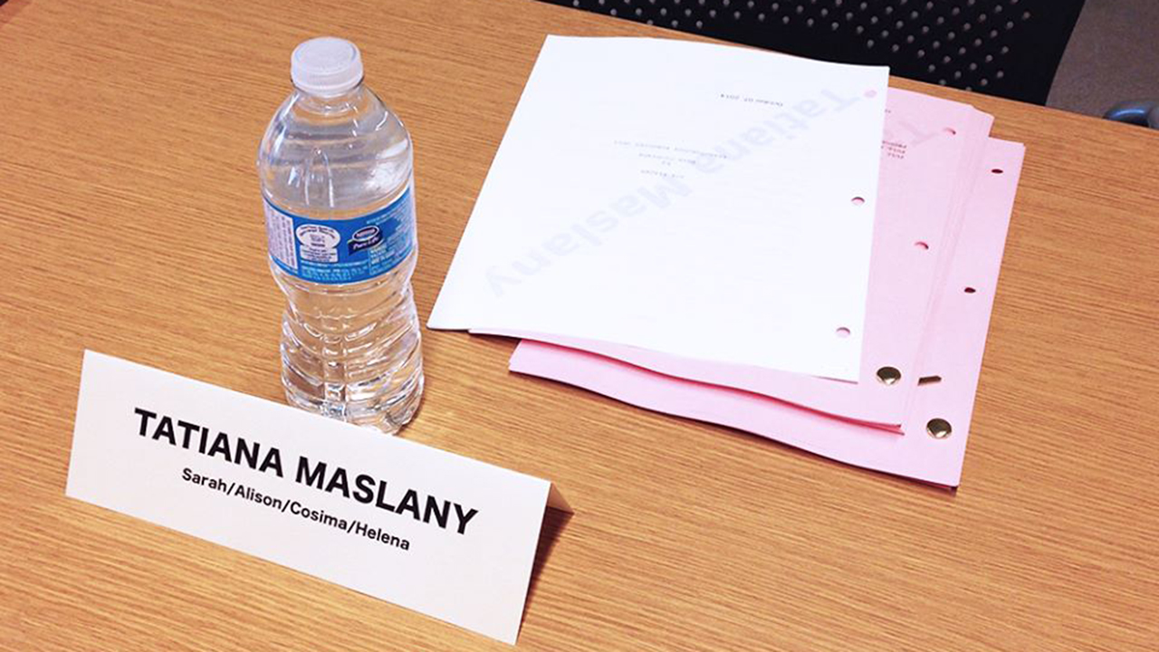One seat, multiple characters. Tatiana Maslany's spot at the first Orphan Black Season 3 table read!