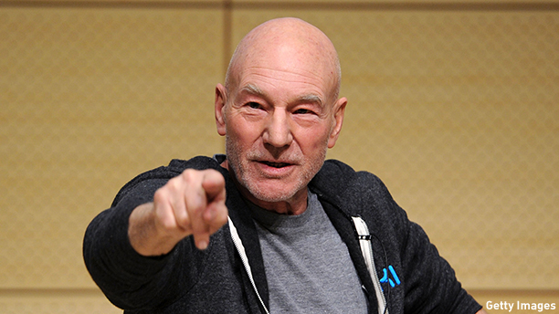 NEW YORK, NY - JANUARY 28:  Sir Patrick Stewart speaks at John L. Tishman Auditorium at University Center on January 28, 2014 in New York City.  (Photo by Ilya S. Savenok/Getty Images for SAG Foundation)
