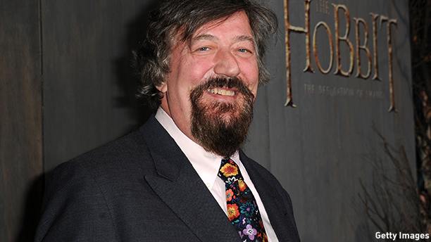 "HOLLYWOOD, CA - DECEMBER 02:  Actor Stephen Fry attends the premiere of Warner Bros' ""The Hobbit: The Desolation of Smaug"" at TCL Chinese Theatre on December 2, 2013 in Hollywood, California.  (Photo by Kevin Winter/Getty Images)"