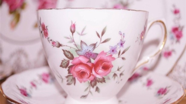 A lovely Victorian-style teacup from Legacy House Import's Tea Room (Travel Wisconsin).