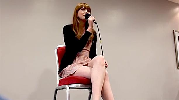 Karen Gillan singing at Collectormania 18, in June 2012