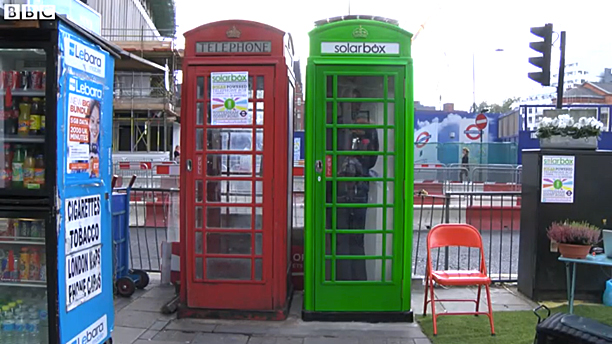 A normal red phone box and a solarbox, London (Pic: BBC)