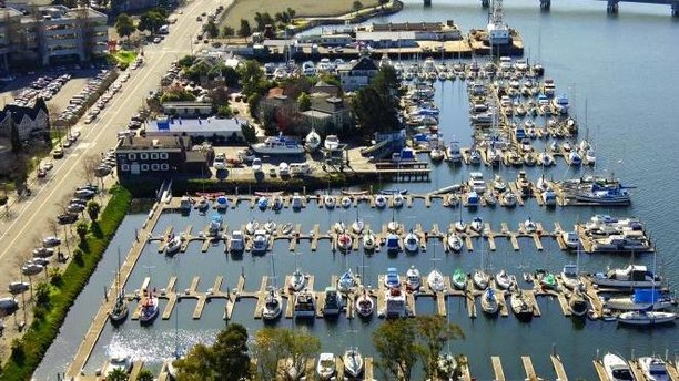 An aerial view of the British Marine & Industry in Oakland. (marinas.com)