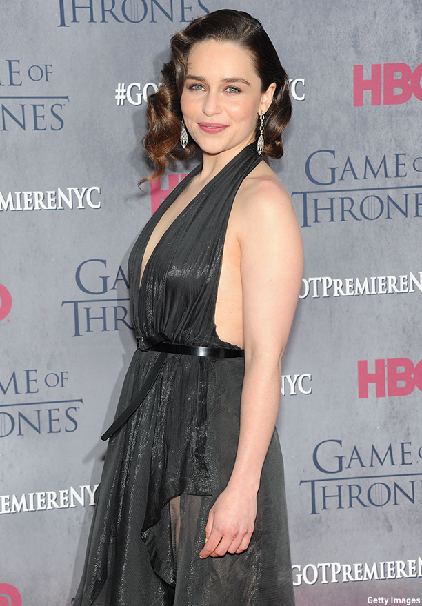 "NEW YORK, NY - MARCH 18:  Actress Emilia Clarke attends the ""Game Of Thrones"" Season 4 New York premiere at Avery Fisher Hall, Lincoln Center on March 18, 2014 in New York City.  (Photo by Jamie McCarthy/Getty Images)"