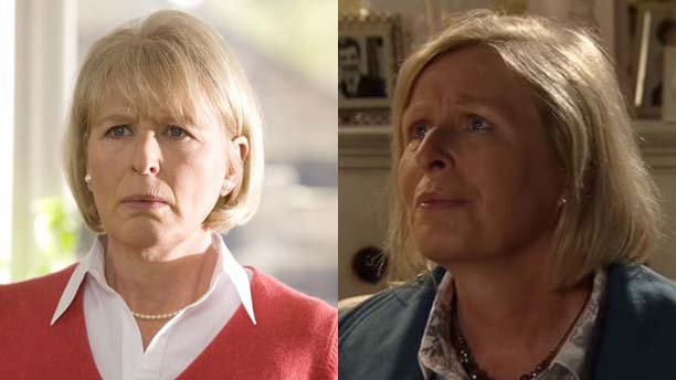 Jacqueline King as Sylvia Noble in 'Doctor Who' and Norma Fountain in 'Coronation Street' (Pics: BBC, ITV)