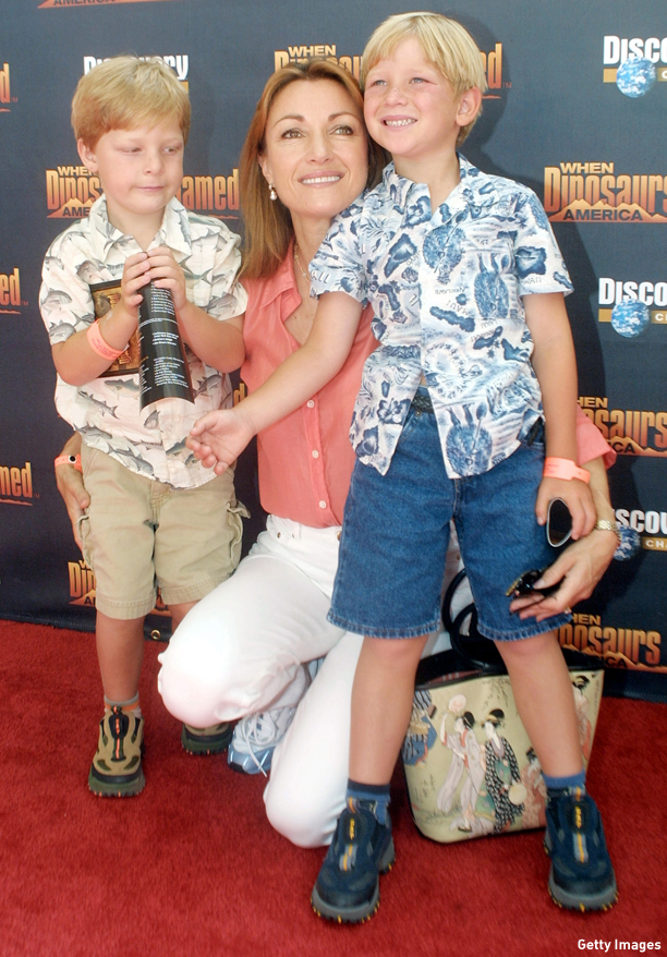 "391548 05: Actress Jane Seymour and her sons Chris and John arrive for the film premiere of ""When Dinosaurs Roamed America"" July 07, 2001 at the La Brea Tar Pits in Los Angeles, CA. (Photo by Frederick M. Brown/Getty Images)"