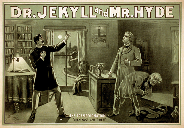 Dr. Jekyll and Mr. Hyde are depicted in a poster from the 1880s. (Wikipedia)