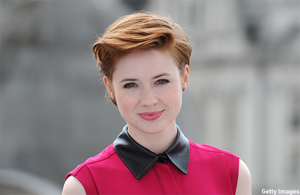 "LONDON, UNITED KINGDOM - JULY 25: Karen Gillan attends the ""Guardians of the Galacy"" photocall on July 25, 2014 in London, England. (Photo by Stuart C. Wilson/Getty Images)"