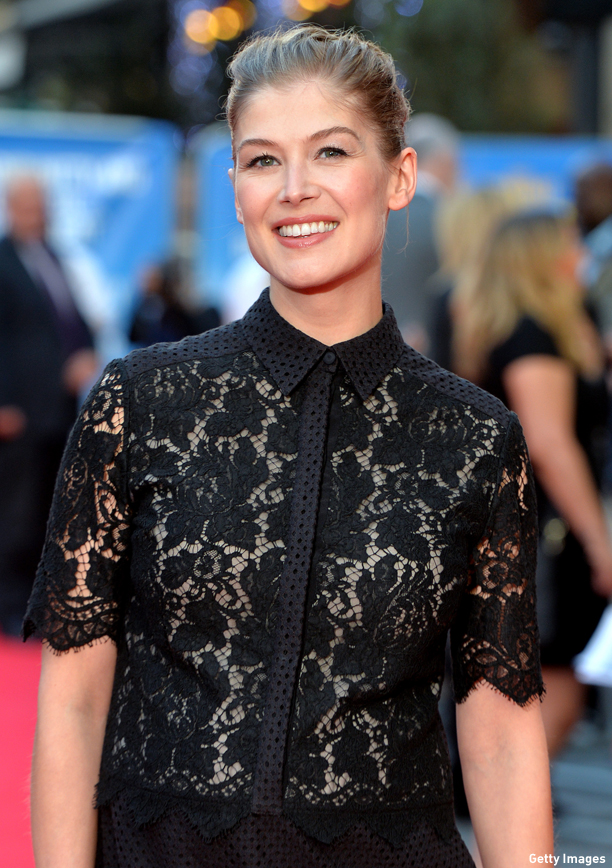 "LONDON, ENGLAND - SEPTEMBER 22:  Rosamund Pike attends the World Premiere of ""What We Did On Our Holiday"" at Odeon West End on September 22, 2014 in London, England.  (Photo by Anthony Harvey/Getty Images)"