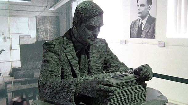 The statue of Alan Turing at Bletchley Park (Pic: Wikipedia)