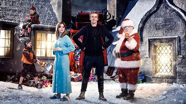 "The elves, Clara, the Doctor and Santa in ""Last Christmas"""