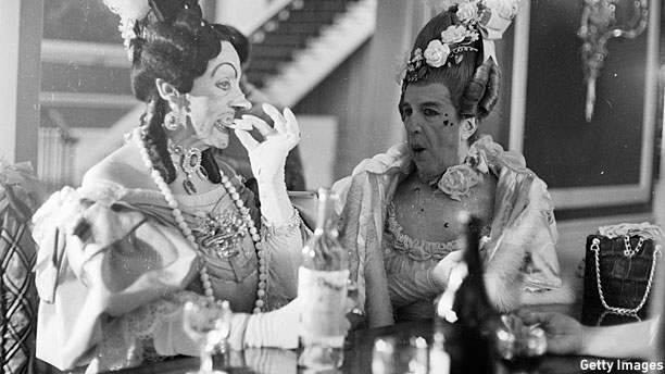 Frederick Ashton and Robert Helpmann as the two ugly sisters in the Royal Ballet School's 1965 production of 'Cinderella' at Covent Garden. (Pic: Victor Blackman/Getty Images)