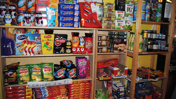 The wall of British goods inside the Park Slope ChipShop. (Park Slope ChipShop)