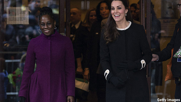 NEW YORK, NY - DECEMBER 08:  Catherine, Duchess of Cambridge (R), leaves with Chirlane McCray, the wife of the current New York mayor, after visiting Northside Center for Child Development on December 8, 2014 in New York City. The royal couple are on an official three-day visit to New York with Prince William also meeting President Barack Obama in Washington D.C today.  (Photo by Carl Court/Getty Images)