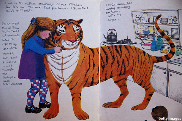 LONDON, ENGLAND - DECEMBER 04:  An annotated page from 'The Tiger who came to tea' by Judith Kerr is displayed at Sotheby's auction House on December 4, 2014 in London, England. A selection of annotated first edition books from the World's greatest living illustrators and authors including contributions from Michael Bond, Raymond Briggs, Quentin Blake, Lauren Child, Terry Gilliam, Judith Kerr, Paula Rego & Gerald Scarfe are to be auctioned to Raise Money for 'House of Illustration' on December 8, 2014.  (Photo by Dan Kitwood/Getty Images)