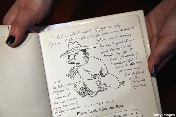 LONDON, ENGLAND - DECEMBER 04:  An annotated page from 'A Bear Called Paddington' by Peggy Fortnum is displayed at Sotheby's auction House on December 4, 2014 in London, England. A selection of annotated first edition books from the World's greatest living illustrators and authors including contributions from Michael Bond, Raymond Briggs, Quentin Blake, Lauren Child, Terry Gilliam, Judith Kerr, Paula Rego & Gerald Scarfe are to be auctioned to Raise Money for 'House of Illustration' on December 8, 2014.  (Photo by Dan Kitwood/Getty Images)