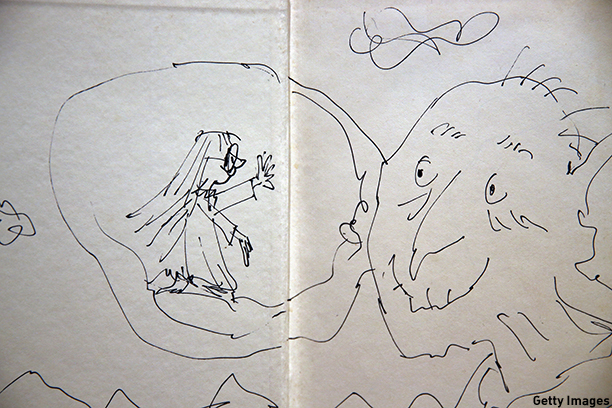 LONDON, ENGLAND - DECEMBER 04:  An annotated page from Roal Dahl's 'The BFG' by Quentin Blake is displayed at Sotheby's auction House on December 4, 2014 in London, England. A selection of annotated first edition books from the World's greatest living illustrators and authors including contributions from Michael Bond, Raymond Briggs, Quentin Blake, Lauren Child, Terry Gilliam, Judith Kerr, Paula Rego & Gerald Scarfe are to be auctioned to Raise Money for 'House of Illustration' on December 8, 2014.  (Photo by Dan Kitwood/Getty Images)