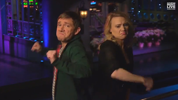 Martin Freeman shows us some moves on SNL. (NBC)