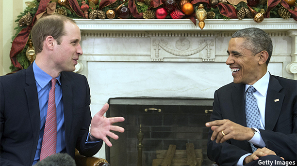 US President Barack Obama meets with Britain's Prince William, Duke of Cambridge, in the Oval Office at the White House in Washington on December 8, 2014. William and his wife Catherine are on a three-day visit to the US.   AFP PHOTO/Nicholas KAMM        (Photo credit should read NICHOLAS KAMM/AFP/Getty Images)