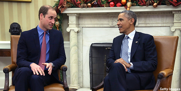 WASHINGTON, DC - DECEMBER 08:  U.S. President Barack Obama (R) meets with Prince William (L), Duke of Cambridge, in the Oval Office of the White House December 8, 2014 in Washington, DC. Prince William and his wife Catherine, Duchess of Cambridge, are on a two-day official visit in the United States.  (Photo by Alex Wong/Getty Images)