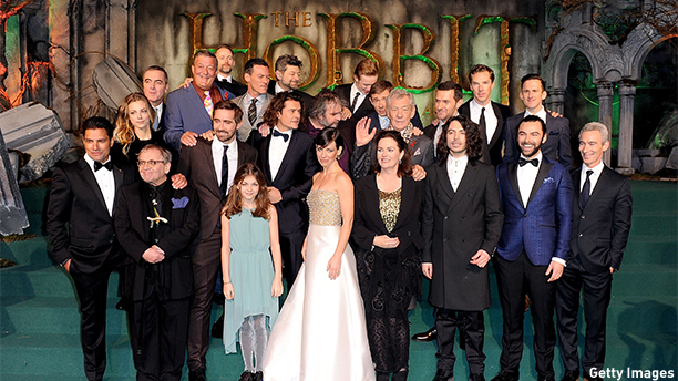 "LONDON, ENGLAND - DECEMBER 01:  (MANDATORY CREDIT PHOTO BY DAVE J. HOGAN GETTY IMAGES REQUIRED)   Manu Bennett, Sylvester McCoy, James Nesbitt, Stephen Fry, Andy Serkis, John Bell, Adam Brown, Jed Brophy, Ryan Gage, Philippa Boyens, Lee Pace, Luke Evans, Orlando Bloom, Andy Serkis, Peter Jackson, Evangeline Lilly, Martin Freeman, Sir Ian McKellen, Richard Armitage, Benedict Cumberbatch and Aidan Turner attend ""The Hobbit: The Battle Of The Five Armies""  World Premiere at Odeon Leicester Square on December 1, 2014 in London, England.  (Photo by Dave J Hogan/Getty Images)"
