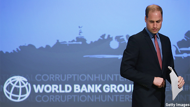 "WASHINGTON, DC - DECEMBER 08:  Prince William, Duke of Cambridge arrives at the International Corruption Hunters Alliance Conference at the World Bank during an official three-day visit to the United States December 8, 2014 in Washington, DC. After meeting with President Barack Obama earlier in the day, the duke addressed the conference, calling the trade in elephants tusks, rhino horns and other animal parts as  one of the most insidious forms of corruption and criminality in the world today.""  (Photo by Chip Somodevilla/Getty Images)"