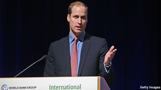 "WASHINGTON, DC - DECEMBER 08:  Prince William, Duke of Cambridge addresses the International Corruption Hunters Alliance Conference at the World Bank during an official three-day visit to the United States December 8, 2014 in Washington, DC. After meeting with President Barack Obama earlier in the day, the duke addressed the conference, calling the trade in elephants tusks, rhino horns and other animal parts as  one of the most insidious forms of corruption and criminality in the world today.""  (Photo by Chip Somodevilla/Getty Images)"