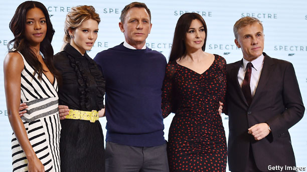 The cast of 'Spectre' (L-R: Naomi Harris, Lea Seydoux, Daniel Craig, Monica Bellucci and Christoph Waltz. Pic: Ben Stansall/AFP/Getty Images)