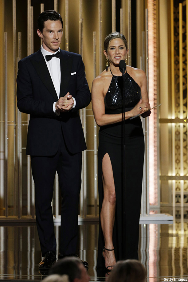 BEVERLY HILLS, CA - JANUARY 11:  In this handout photo provided by NBCUniversal, Presenters Benedict Cumberbatch and  Jennifer Aniston speak onstage during the 72nd Annual Golden Globe Awards at The Beverly Hilton Hotel on January 11, 2015 in Beverly Hills, California.  (Photo by Paul Drinkwater/NBCUniversal via Getty Images)