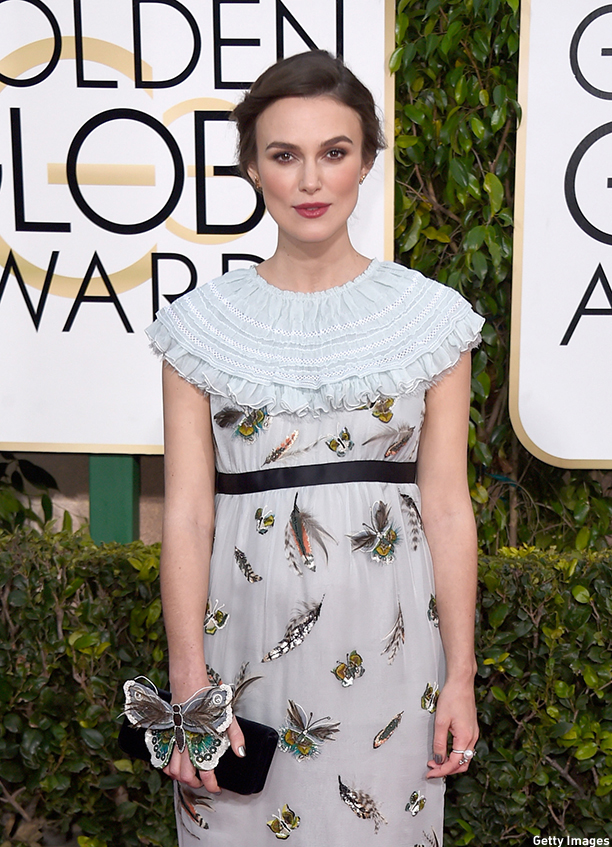 BEVERLY HILLS, CA - JANUARY 11:  Actress Keira Knightley attends the 72nd Annual Golden Globe Awards at The Beverly Hilton Hotel on January 11, 2015 in Beverly Hills, California.  (Photo by Frazer Harrison/Getty Images)