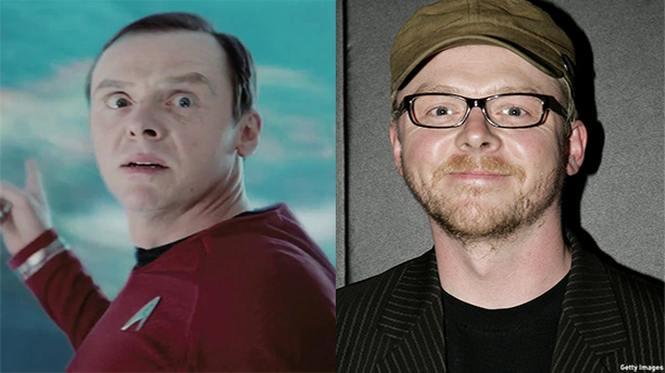 "Simon Pegg as ""Scotty"" in Star Trek, and as The Writer. (Paramount, Getty Images)"