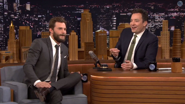Jamie Dornan faces off with Jimmy Fallon in a game of accents. (Photo: YouTube)