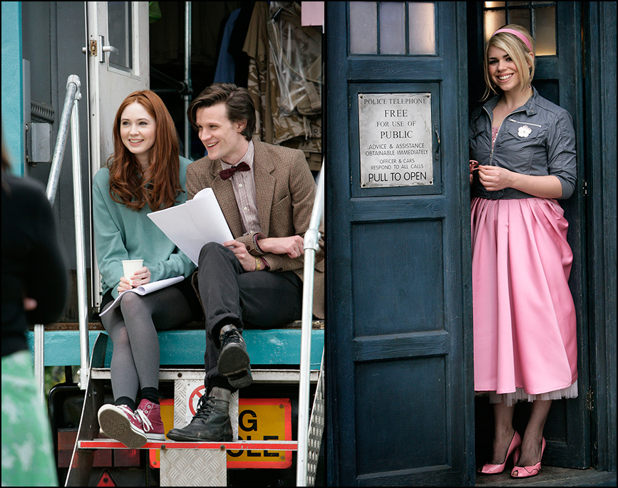 Matt Smith and Karen Gillan (left) and Billie Piper (right). (Photos: BBC)