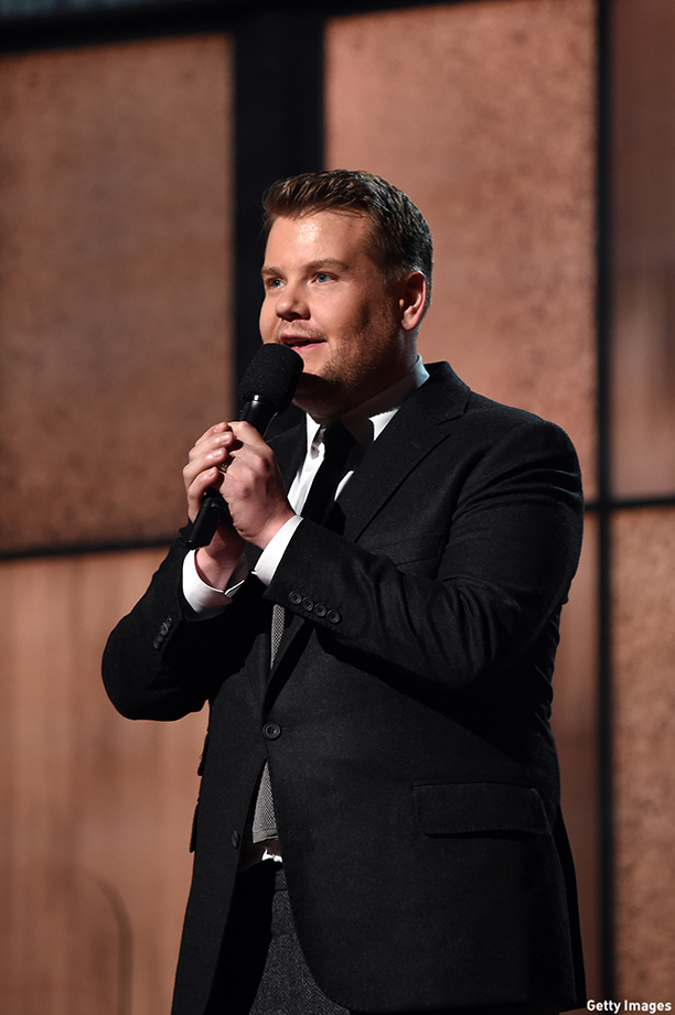 LOS ANGELES, CA - FEBRUARY 08: Actor James Corden speaks onstage during The 57th Annual GRAMMY Awards at the STAPLES Center on February 8, 2015 in Los Angeles, California.  (Photo by Larry Busacca/Getty Images for NARAS)